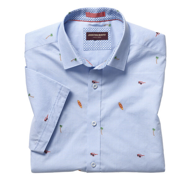 Summer Fun Clip-Embroidered Short-Sleeve Shirt