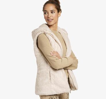 Reversible Faux-Fur Hooded Vest