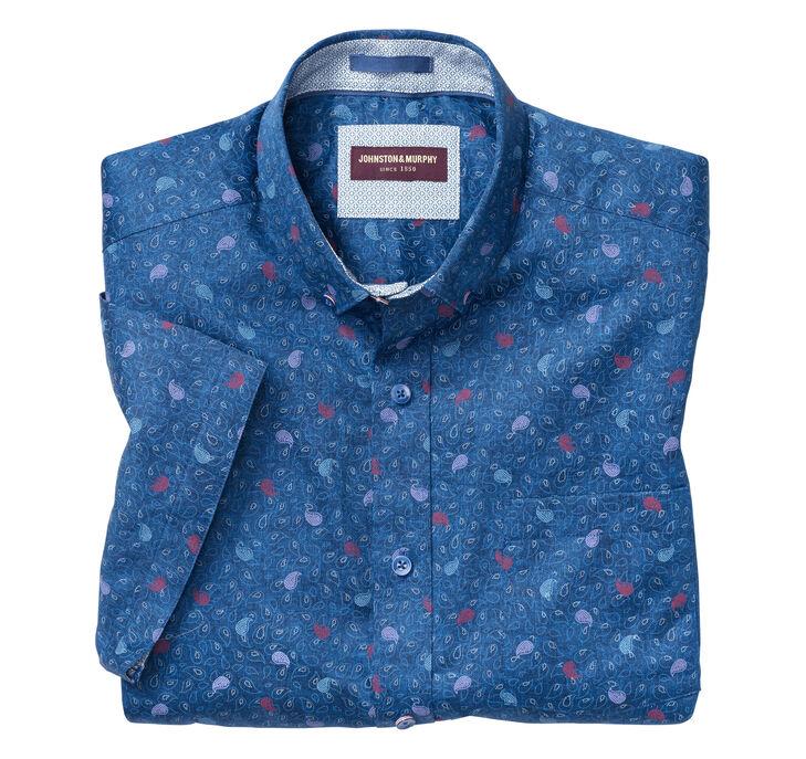 Floating Paisley Print Short-Sleeve Shirt