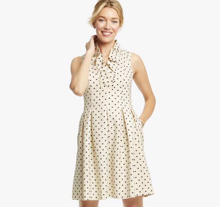 Ruffle-Neck Dot Dress