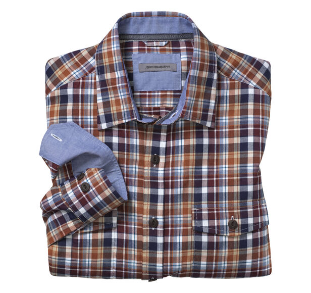 Tailored fit brushed twill shirt johnston murphy for Brushed cotton twill shirt