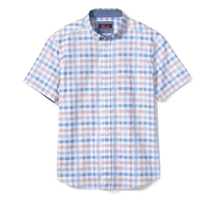 XC4® Large Gingham Short-Sleeve Stretch Shirt