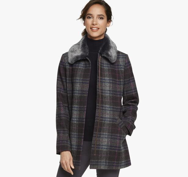 Faux-Fur Collar Plaid Coat