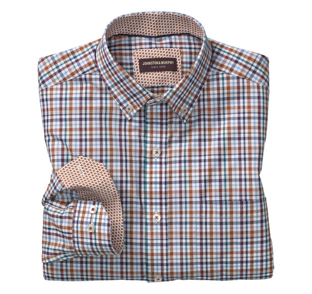 Slub Check Button-Down Collar Shirt