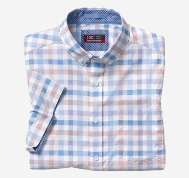XC4® Large Gingham Short-Sleeve Stretch Shirt