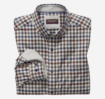 Gingham Button-Collar Heathered Shirt