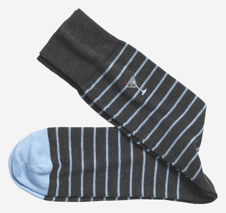 Embroidered Martini Stripe Socks