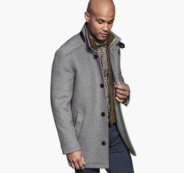 Wool Car Coat with Bib