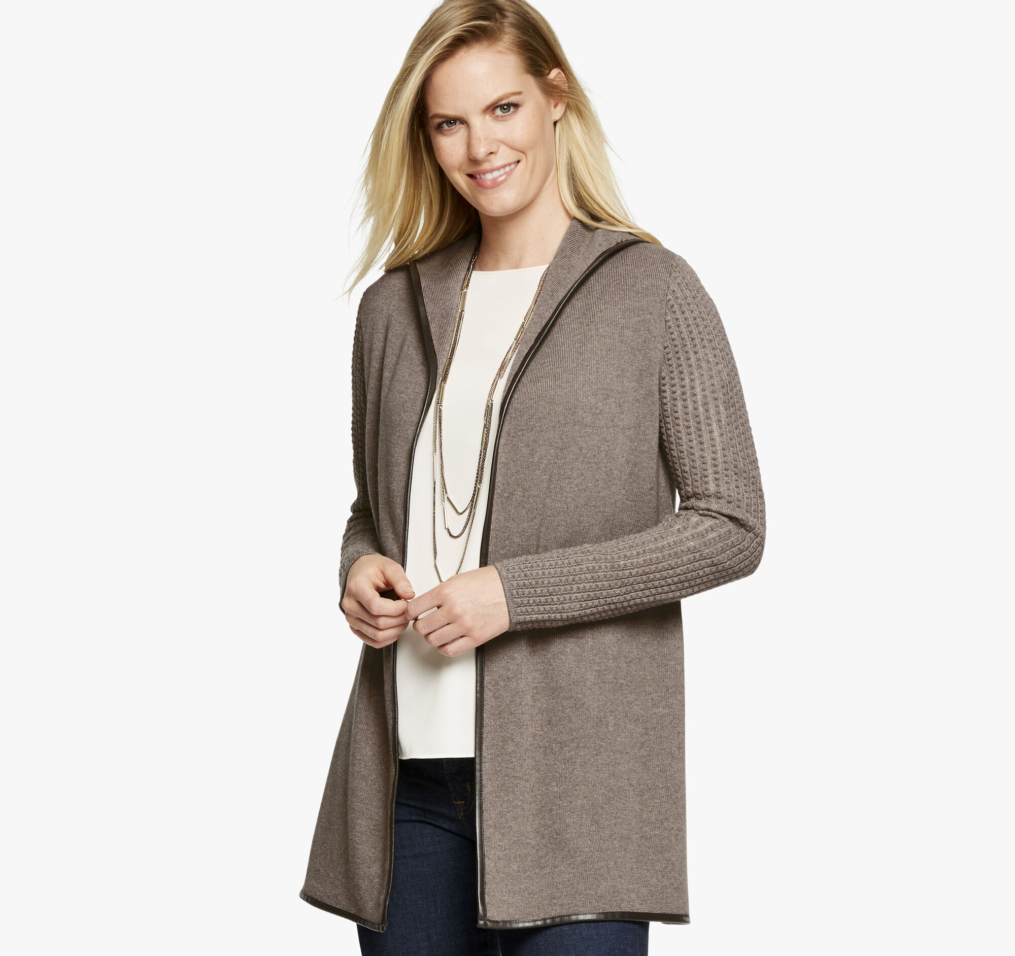 7ccb26dde0be Faux-Leather Trim Cardigan | Johnston & Murphy