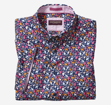 Flamingo Print Short-Sleeve Shirt