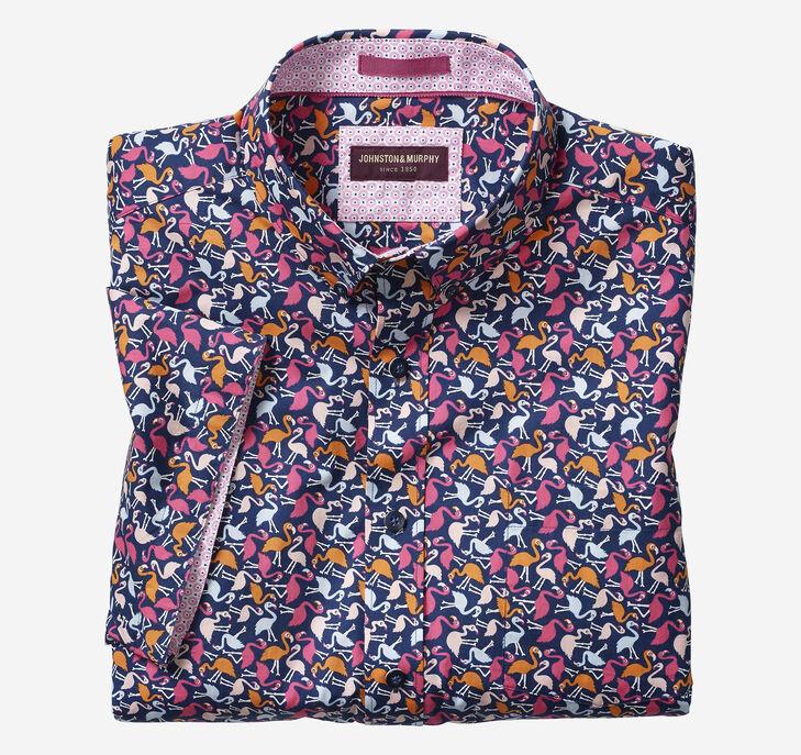Flamingo Print Short-Sleeve Shirt