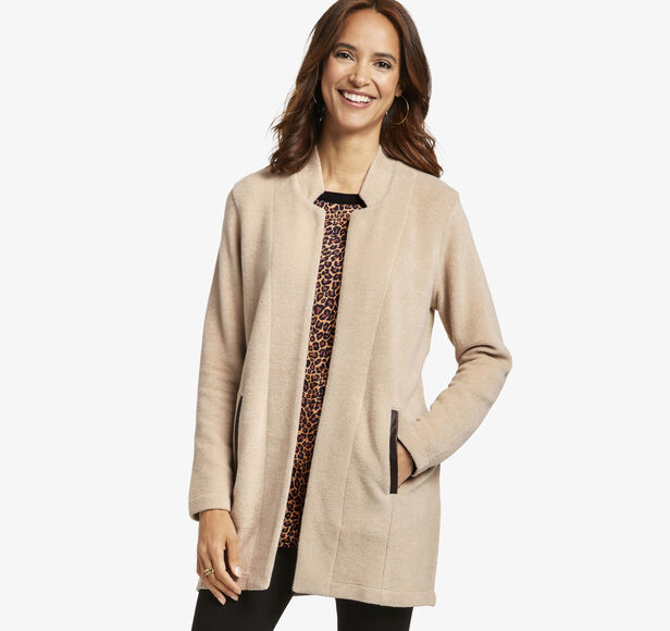 Marled Open-Front Cardigan