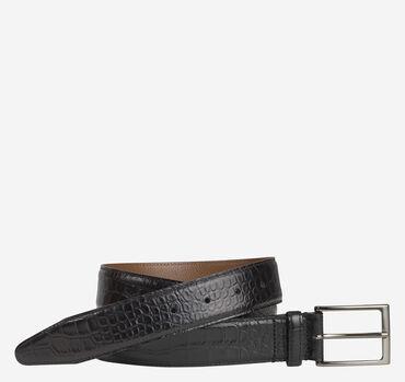 Croc-Embossed Leather Belt