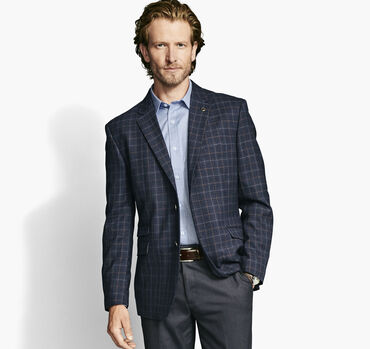 Wool Windowpane Plaid Blazer