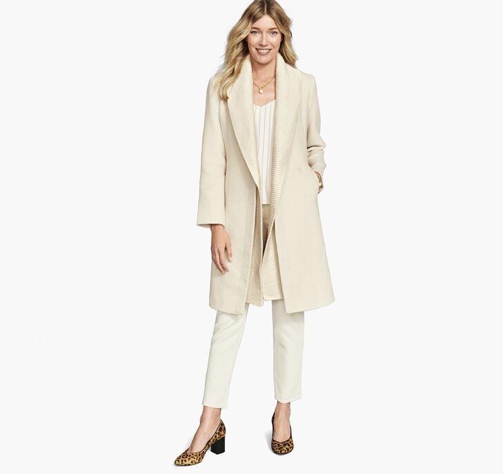 Knit Collar Wool Coat