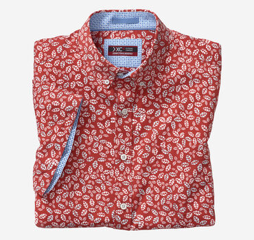 XC4 Leaf Print Short-Sleeve Stretch Shirt