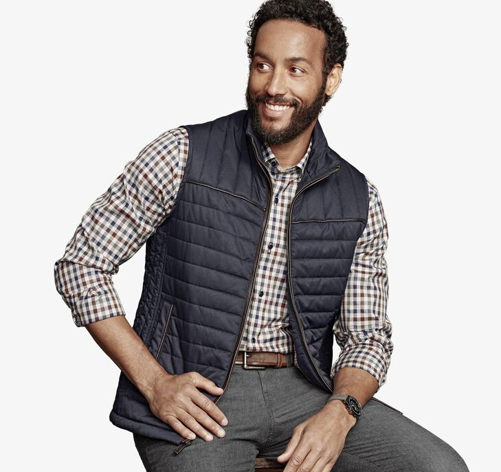 Quilted Twill Vest by Johnston & Murphy