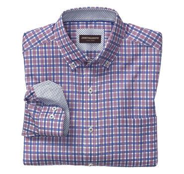 Layered Windowpane Button-Down Collar Shirt