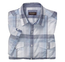 Large Layered Plaid Double-Pocket Short-Sleeve Shirt