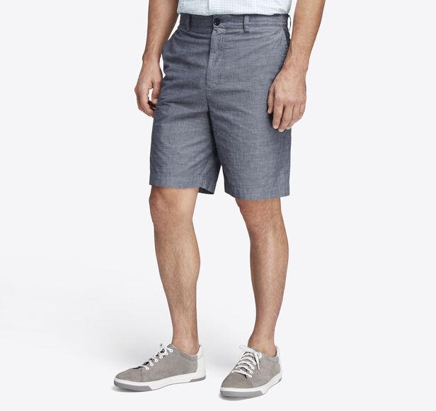 Garment-Washed Chambray Shorts