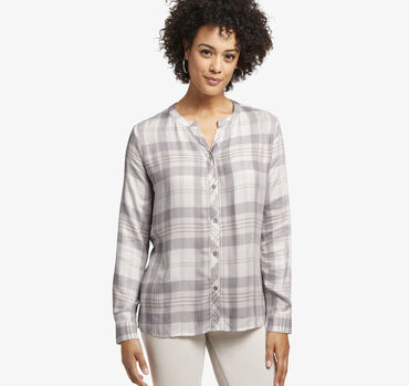 Plaid Y-Neck Shirt