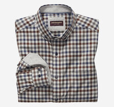 Gingham Button-Collar Heathered Shirt