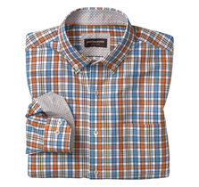 Plaid Button-Down Collar Slub Shirt