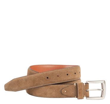 Stitched-Edge Suede Belt