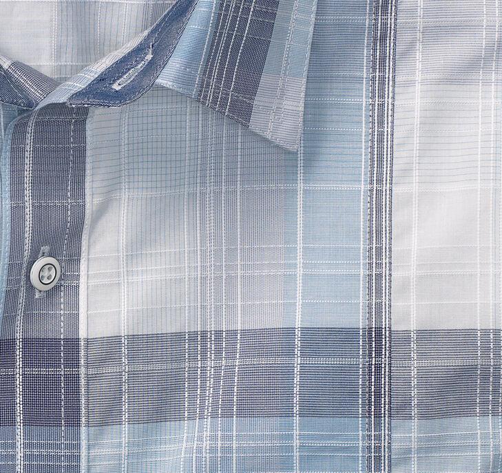Large Layered Plaid Double-Pocket Short-Sleeve Shirt
