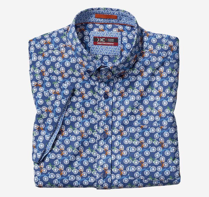 XC4® Bicycle Print Short-Sleeve Stretch Shirt