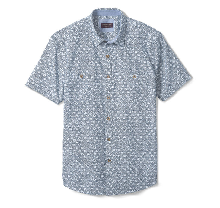 Washed Cotton Short-Sleeve Shirt
