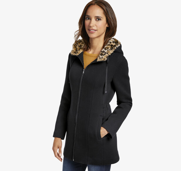 Bonded Knit Jacket with Leopard Lined Hood