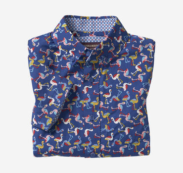 Boys Short-Sleeve Patterned Shirt