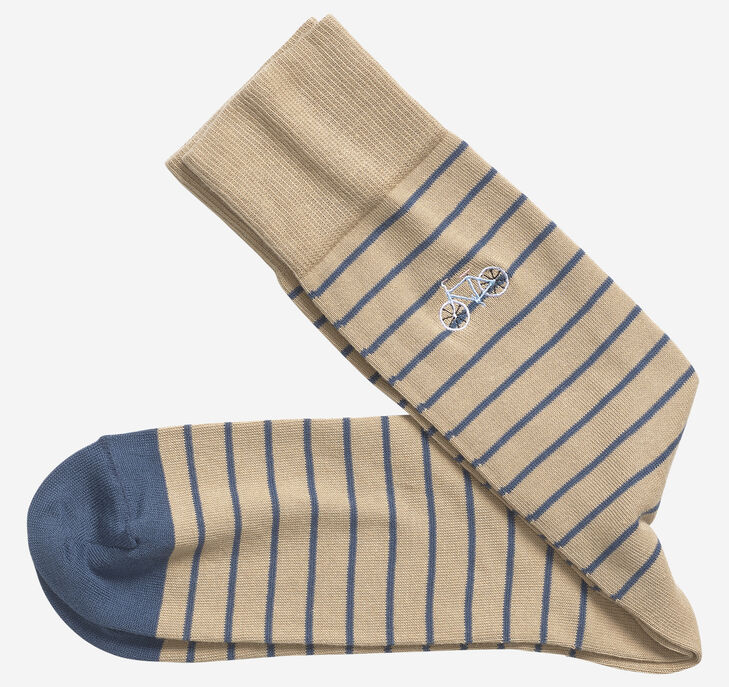 Embroidered Bicycle Stripe Socks