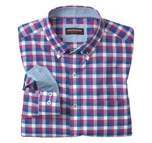 Square Check Button-Down Collar Slub Shirt
