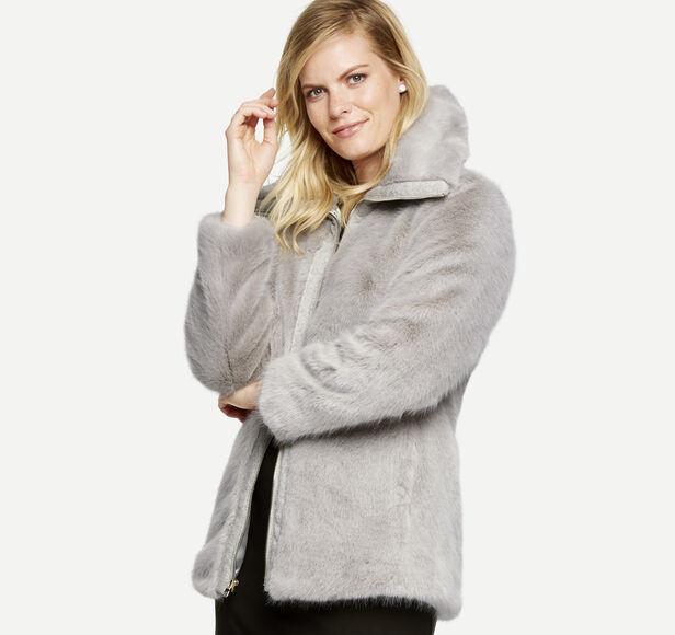Knit-Trimmed Faux-Fur Jacket