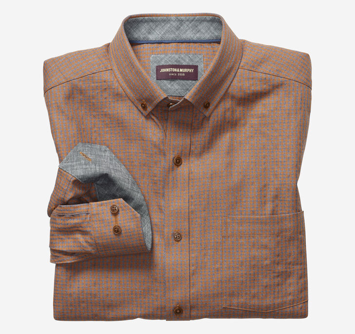 Micro Check Button-Collar Heathered Shirt