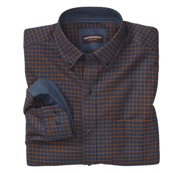 Windowpane Brushed-Cotton Button-Collar Shirt
