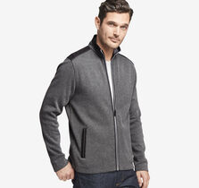 Nylon-Trimmed Knit Full-Zip