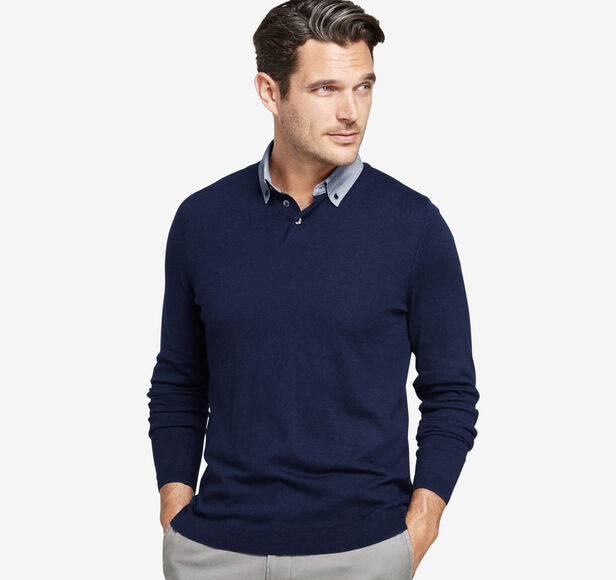 Woven-Collar Sweater