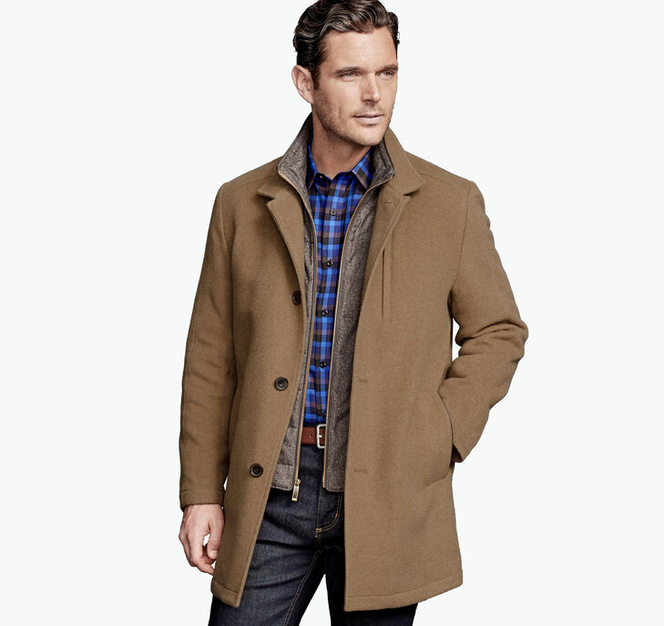 Camel Wool Coat with Quilted Bib