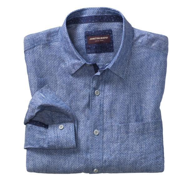 Dot-Print Washed Linen Shirt