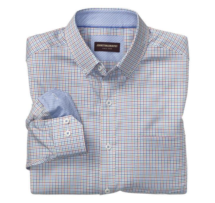 Mini-Grid Check Button-Down Collar Shirt