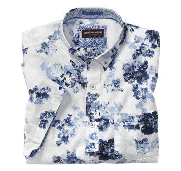 Layered Floral Print Short-Sleeve Shirt