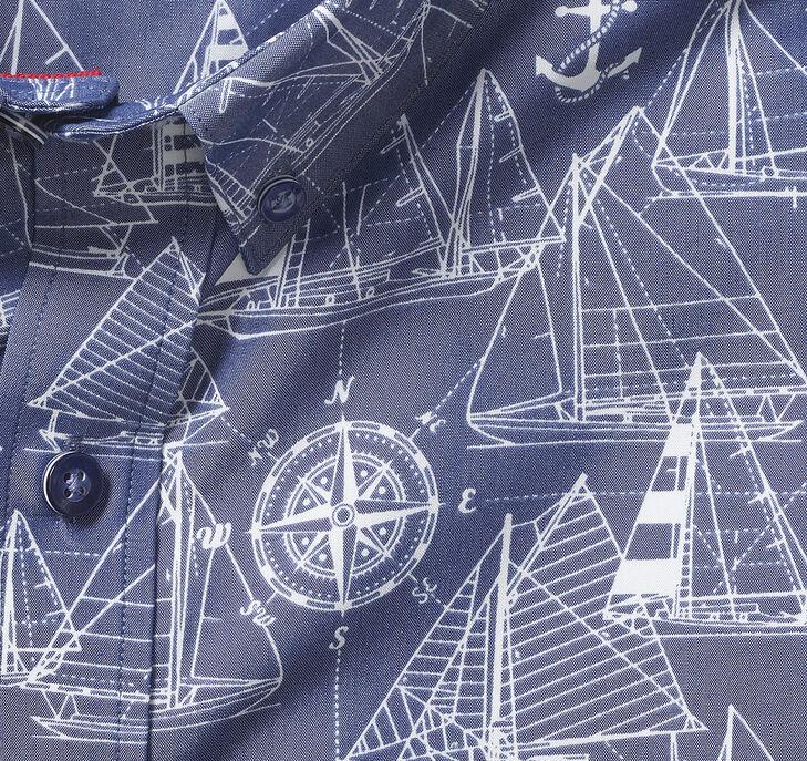 Silky Short-Sleeve Print Shirt