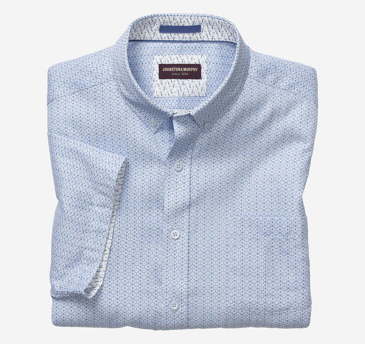 Coin Dot Print Short-Sleeve Shirt