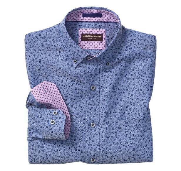 Flower Print Birdeye Button-Collar Shirt