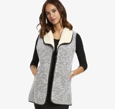 Faux-Fur Lined Tweed Vest