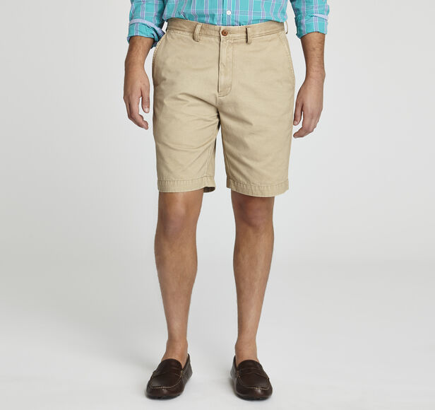 Garment-Washed Solid Shorts