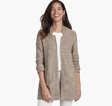 Open-Front Slub Knit Cardigan